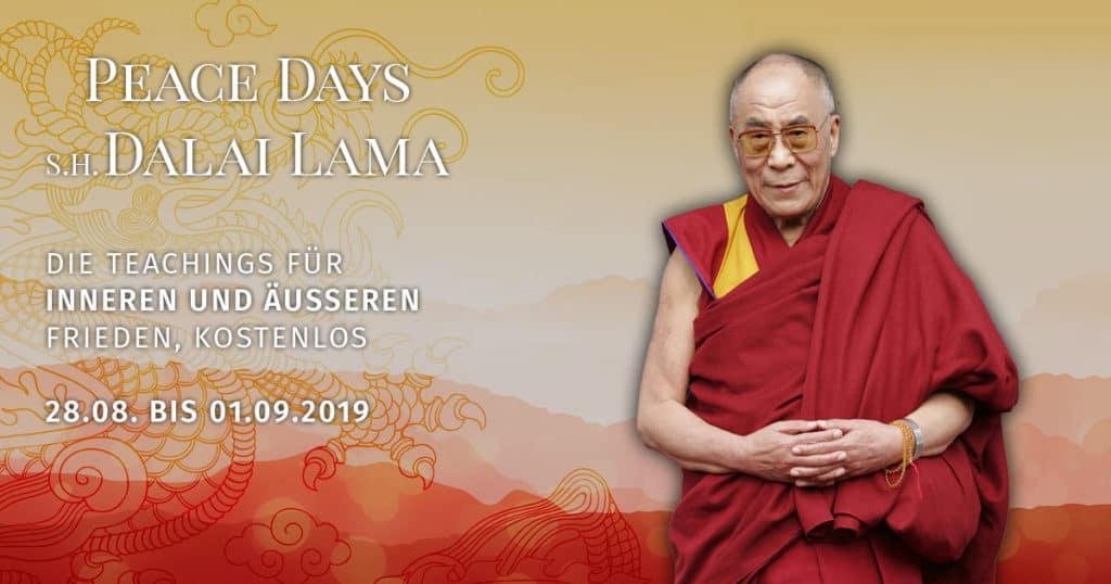 Dalai Lama und die Peace Days 2019. Kostenlose Videos über Selbstwahrnehmung, Meditation, Mitgefühl.