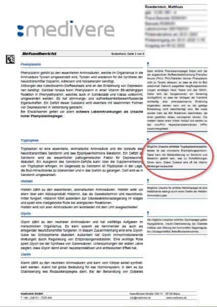 Hinweise zu grenzwertigen Messergebnissen der Aminosäuren